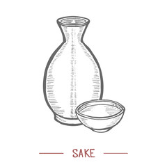 Sake in Hand Drawn Style