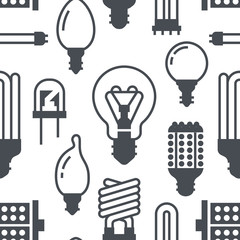 Light bulbs seamless pattern with flat glyph icons. Led lamps types, fluorescent, filament, halogen, diode and other illumination. Modern grey white background signs for electric store.
