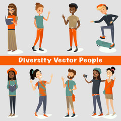 diversity people vector illustration of a group of young adults talking, smiling, laughing, reading, traveling, taking selfies and having fun. multinational colorful cartooning character design set.
