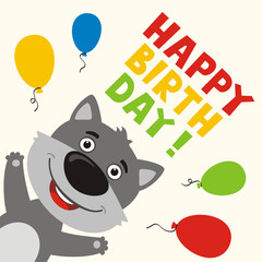Happy birthday! Greeting card with funny wolf and balloons in cartoon style.