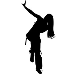 Zumba Girl, Female Vector Silhouette with arm in the air