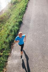 Jogging man top view portrait