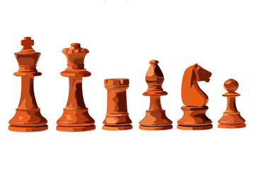 Chess pieces white, six pieces, each isolated on a white background