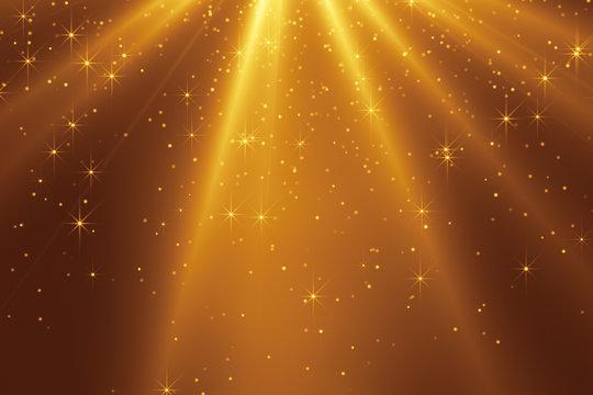 falling golden stars and light streaks christmas background