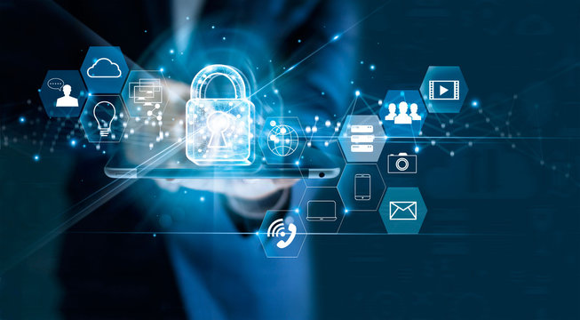 Data protection privacy concept. GDPR. EU. Cyber security network. Business man protecting data personal information on tablet. Padlock icon and internet technology networking connection