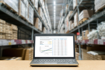 Laptop with analysis sale screen on table with blur warehouse cargo in factory. Smart factory concept..