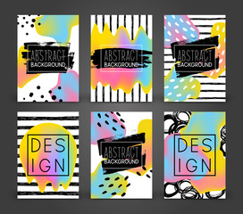 Set of abstract poster designs with color liquid elements