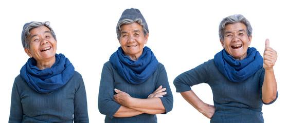 Happy Asian old woman joyful on white background