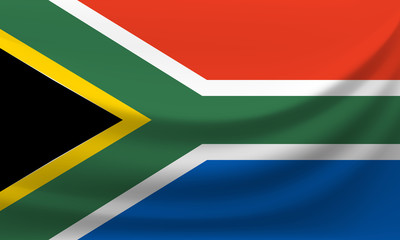 Waving national flag of South Africa. Vector illustration
