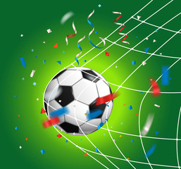 Soccer ball with confetti. Soccer competition concept