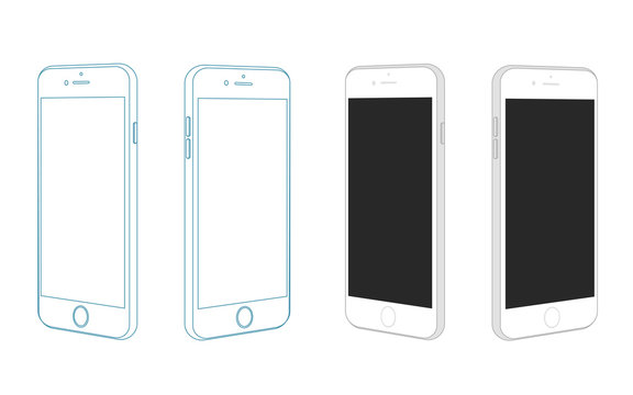 Isomertric vector visualisation of modern smartphone isolated on white background