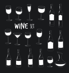 This are vector silhouette bottles and glasses of wine you can use in the menu, in the shop, in the bar, the wine card or stickers.