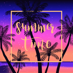 Summer tropical background  with palms, sky and sunset. Summer p