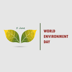 Green Leaves sign. World Environment day concept vector logo design template.June 5st World Environment day concept.World Environment day Awareness Idea Campaign.Vector illustration.