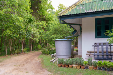 Water storage for keep rain from roof.