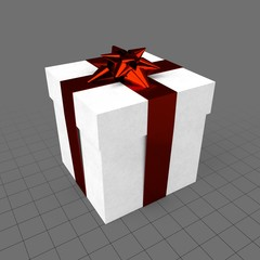 Gift box with star-shaped ribbon
