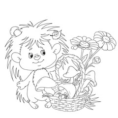 Nice hedgehog with a basket. A cartoon character is a hedgehog with mushrooms and flowers. Vector for coloring book.