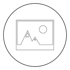 Picture of mountains and Sun icon. the black color icon in circle or round