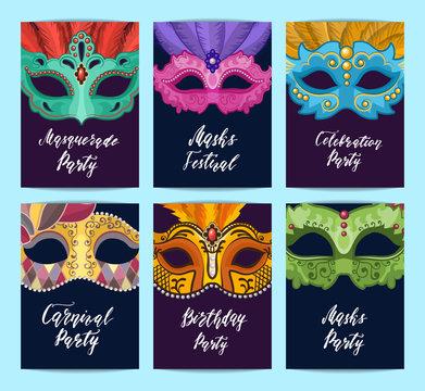 Vector card or flyer templates set with carnival masks illustration