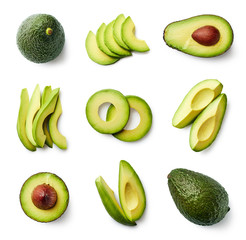 Set of fresh whole and sliced avocado