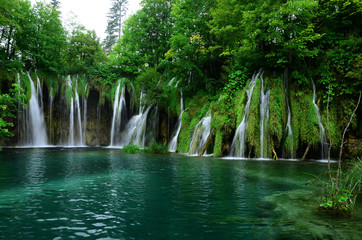 Wasserfall, See, Plitvicer Seen, Nationalpark, Kroatien, Wall mural