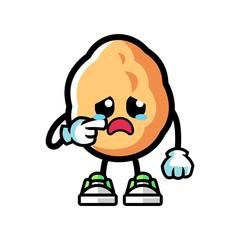Walnut cry mascot cartoon illustration