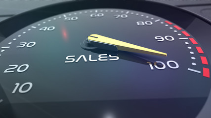 sales speedometer with needle points to the maximum. 3d rendering