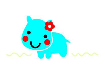 Hippo Animal cartoon cute vector