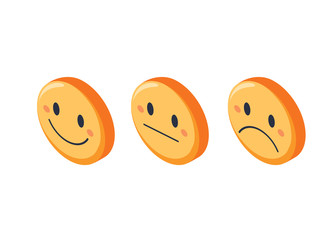 Smile faces rating feedback isometric set, isolated vector illustration. Different expression smiley.