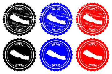 Nepal - rubber stamp - vector, Federal Democratic Republic of Nepal map pattern - sticker - black, blue and red