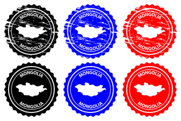 Mongolia - rubber stamp - vector, Mongolia map pattern - sticker - black, blue and red
