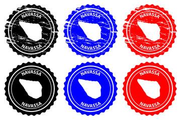 Navassa Island - rubber stamp - vector, Navassa Island map pattern - sticker - black, blue and red