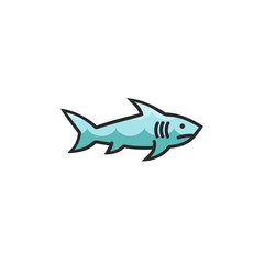 Shark icon, isolated on white background. Template for your project.