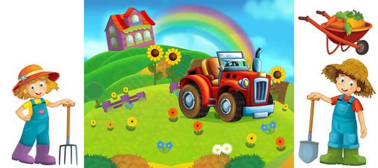 cartoon scene with kids on the farm having fun - illustration for children