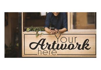 Wooden Storefront Sign Mockup
