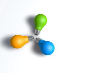 drei farbige glühbirnen