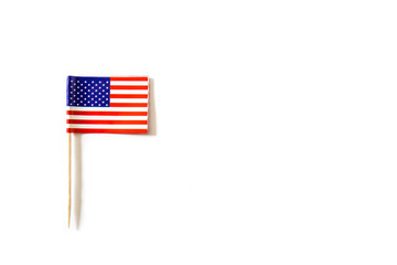 USA flag on white background. Top view. Copyspace