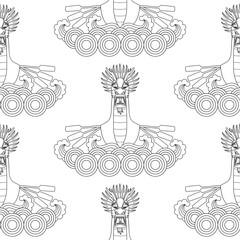 Dragon Boat Seamless Pattern