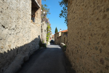 Small street in Eus city, France
