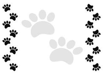 Cat paw print frame on white background.