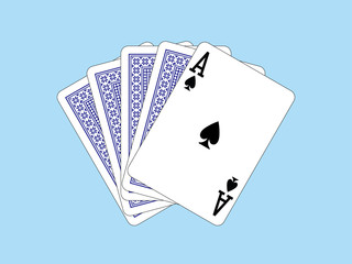 Playing Cards - Ace of spades and four cards