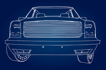 Recess Fitting Vintage cars Suv car outline drawing of a hand.