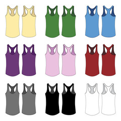 Vector template for Women's racerback style tank tops