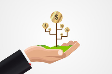 Money growth in businessman hand. Business concept