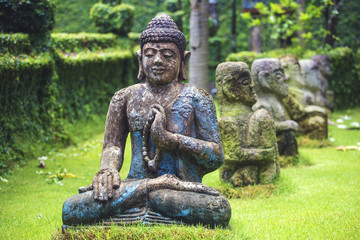 Statue of Buddha on grassy field