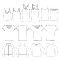 Vector template for various Women's apparel