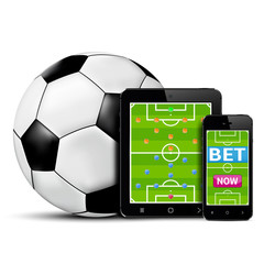 Smart phone and tablet with football field for betting online concept