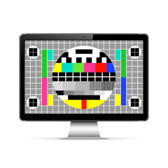 Modern computer display with test screen