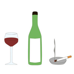 The symbols of a persons bad habits are alcohol and cigarette isolated by a white background.