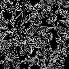 Abstract seamless pattern of fantastic flowers, vector illustration. Bright colorful seamless background collection.